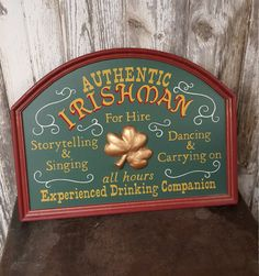 Vintage Irish Pub Sign For Hire Irishman Vintage Sign by birchleaves on Etsy