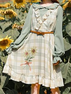 V-neck Dress and Peter Pan Collar Top by Mori Tribe Kawaii Fashion, Lolita Fashion, Cute Fashion, Fashion Styles, Mori Fashion, Pastel Fashion, Aesthetic Fashion, Aesthetic Clothes, Pretty Outfits
