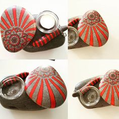 A candleholder with red mandala on stones is on sale  It is 50 TL.... #candleholder #candleholders  #madewithlove #mandalastones #mandalapainters #mandalapainting #paintingstoneart #paintingrock #paintingmandala #paintingpebbles #handmadesale #handmadewithlove #handmade #handmadeproducts #handmadepresent
