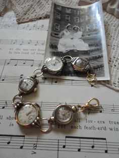 Upcycled ladies watches bracelet by salvagegardener on Etsy, $42.00