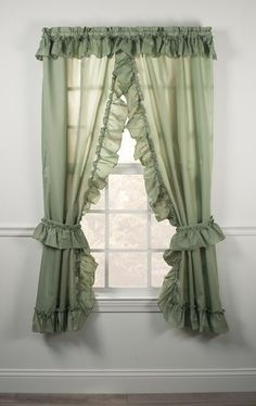 ruffled Priscilla window curtains with fly backs - Window Toppers Stephanie Solid Color Country Ruffled Priscilla Window Curtains Ruffle Curtains, Cool Curtains, Green Curtains, Window Curtains, Unique Curtains, Priscilla Curtains, Curtains Childrens Room, Window Toppers, Curtain Styles