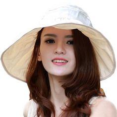 Women's Cotton Folding Large Wide Brim Sun Hat (One Size, Cream)
