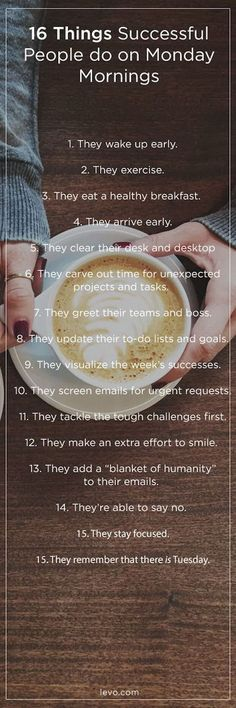 16 Things Successful People Do on Monday Mornings happiness success mornings succeed self improvement entrepreneur entrepreneurship entrepreneur tips tips for entrepreneur