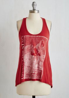 All the Climb in the World Top - Red, Print, Casual, Travel, High-Low Hem, Sleeveless, Knit, Better, Scoop, Mid-length, Cotton, Novelty Print