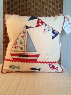 Sailing Boat and Bunting Red & Blue Applique Cushion by BobbityBooCrafts on Etsy