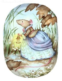 """Wandering at Dusk"" cute Rococo mouse art by Carmen Medlin. 6x8"" print, $8.00"