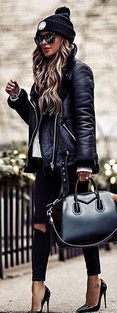 #winter #outfits black leather zip-up jacket with distressed black jeans outfit