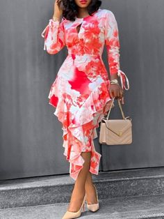 Foreverfad 2020 summer new dress European and American printed round neck sleeves ruffle skirt mid-length dress women 959026 African Fashion Dresses, African Dress, Red Long Sleeve Dress, Dress Long, Dresses With Sleeves, European Dress, Elegant Dresses For Women, Elegant Dresses Classy, Mid Length Dresses