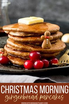 What are you having for Christmas day breakfast? You should make these Christmas morning gingerbread pancakes. You and your kids will absolutely love them! These pancakes are light and fluffy, with a hint of cinnamon and ginger and ready in 20 minutes. #gingerbread #christmasbreakfast #gingerbreadpancakes Egg Recipes For Breakfast, Delicious Breakfast Recipes, Breakfast Items, Brunch Recipes, Dessert Recipes, Brunch Ideas, Baking Recipes, Homemade Pancakes, Pancakes Easy