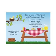 Summer Picnic Party Invitation  This picnic party invitation is perfect for a birthday party, family reunion, BBQ or anytime! Features a picnic table with food and drinks on a red checked tablecloth.