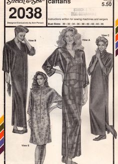 Stretch & Sew 2038 Misses Caftans Pattern V Neck Cowl by mbchills