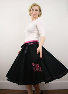 Flower full circle skirt for women, 1950s skirt, black skirt, boho skirt, rockabilly skirt, elastic waist, prom skirt, knee length skirt by ElzahDesign on Etsy