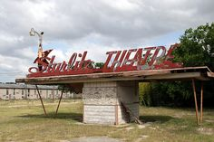 Sadly neglected Starlite Theatre box office and sign