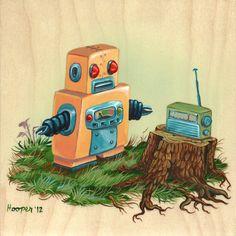 Original Robot Art - Robot and Radio - Mr. Hooper Painting