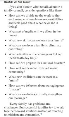 Good ideas for discussion in family councils