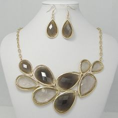 High Quality Gold Tone Statement Necklace Brown by BellaJewelry4u, $12.99