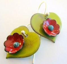 Hearts and  flowers enameled earrings