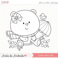 OFF Lovely rainy day Stamp - personal and commercial use - little bear line art, bird on the umbrella graphic, digital clip art - Hand Embroidery Designs, Embroidery Patterns, Baby Posters, Black And White Lines, Digi Stamps, Drawing For Kids, Cute Illustration, Colouring Pages, Animals For Kids