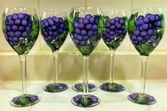 painted purple grape wine glasses