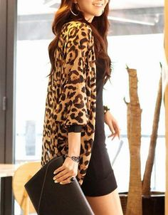 Lip printed chiffon cardigan loose short-sleeved long Kimono ...