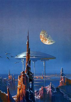 Space Future, Sci-Fi, Retro-Futuristic, by Bruce Pennington