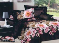 US$100.99 Visual Dark Brown Cotton 4 Piece Bedding Sets with Gorgeous Peony Blossom. #Bedding #Dark #4 #Cotton