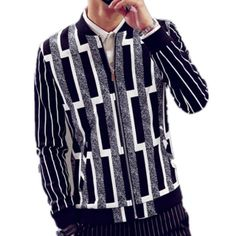 Personalized striped bomber jacket for men stand collar Full zipper pockets