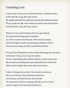 unending love by rabindranath tagore.