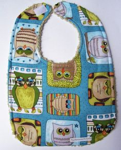 Owls Hand made bib for Baby or Toddler by dreaminbohemian on Etsy, $12.00