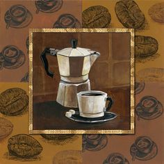 Coffee IV Canvas Art - Gregory Gorham x Coffee Iv, I Love Coffee, Coffee Theme, Cafe Art, Illustration Art, Illustrations, Find Art, Fine Art Prints, Canvas Art