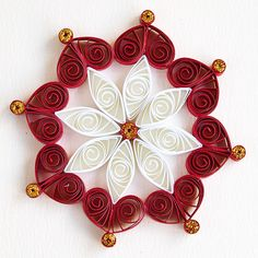6 point red and white quilled snowflake with gold glitter | Flickr - Photo Sharing!