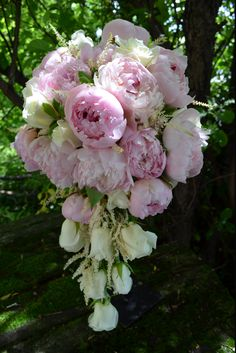 Anna  in Indianapolis, IN Gillespie Florists cascading bouquet of roses and peonies pink and cream colors