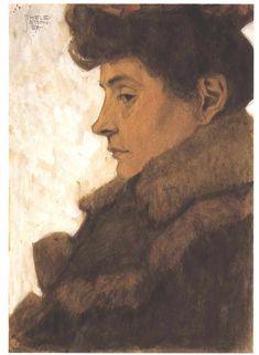 Egon Schiele - Bildnis Marie Schiele mit Pelzkragen (Portrait of Marie Schiele with fur), 1907.