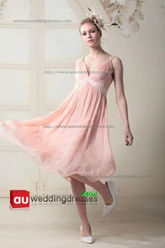 Sexy A Line V Neck Empire Waist Pleated Tea Length Chiffon Spaghetti Straps Coral Bridesmaid Dresses citybd009