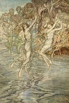 But all the Nymphs that nightly dance Upon thy streams with wily glance - Comus by John Milton, 1921