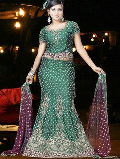 Dreamy Green Raw Silk Fishtail Lehenga Choli with Dupatta