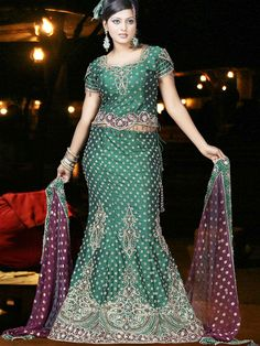 Dreamy Green Raw Silk Fishtail Lehenga Choli with Dupatta