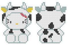 Hello Kitty in Cow Costume - Free Cross Stitch Chart or Hama Perler Bead Pattern