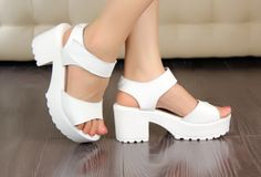 White chunky flatform sandals