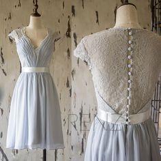 2015 Grey Lace Bridesmaid Dress, Short Tea Length Wedding dress, Cap Sleeve Formal Dress,Gray Long Prom Dress, Cocktail Dress(F143)-Renzrags