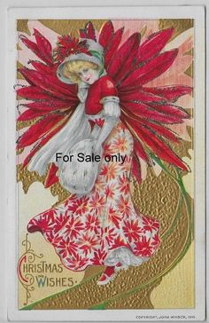 Christmas Wishes, Lovely Poinsettia Lady--vintage Christmas postcard Christmas Poinsettia, Old Christmas, Old Fashioned Christmas, Victorian Christmas, Retro Christmas, Christmas Wishes, Christmas Greetings, Christmas Postcards, Christmas Christmas