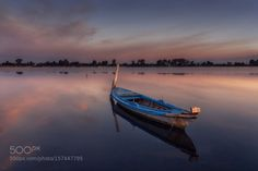 boat at sunrise by athanvas  500px Messolonghi Colors Sunrise Water Photoshop Landscapes Seascape Boat Sea Clouds Greece Reflecti