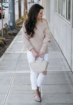 Cute outfit for early spring.  Blush off the shoulder sweater, White skinny jeans, Valentino Rockstud flats look alikes dupes, and Oliver Bilou handbag.