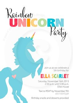 Rainbow Unicorn Party Collection  Invitation by penandpaperflowers