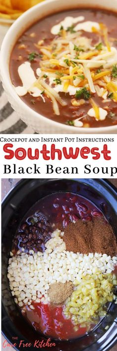 This easy Southwest Black Bean Soup is a spicy black bean soup recipe. It is a dump-and-go recipe you can make in the slow cooker or the instant pot and is a great vegetarian black bean soup recipe. Spicy Black Bean Soup Recipe, Spicy Bean Soup, Vegetarian Black Bean Soup, Bean Soup Recipes, Black Bean Recipes, Chicken Soup Recipes, Healthy Soup Recipes, Spicy Beans Recipe, Slow Cooker Soup Vegetarian