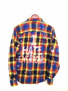 I Hate Everyone Shirt in Bleached Plaid Flannel / Grunge + Hipster