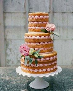 Love the naked cakes. No one eats the thick cement of buttercream anyway. Gorgeous Cakes, Pretty Cakes, Cute Cakes, Amazing Cakes, Bolos Naked Cake, Naked Cakes, Wedding Cake Inspiration, Wedding Ideas, Fancy Cakes