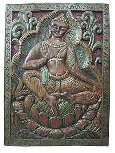 "Vatu Veda Decor Yoga Wall Panels Indian Buddha Vitarka Teaching Door Panel 36"" X 36"" Mogul Interior http://www.amazon.com/dp/B00ODQRV3Q/ref=cm_sw_r_pi_dp_wQxoub034NYT8"