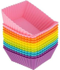 Freshware Silicone Baking Cups Reusable Cupcake Liners Non-Stick Muffin Cups Cake Molds Cupcake Holder in 6 Rainbow Colors, Medium Square Rainbow Colors, Vibrant Colors, Silicone Cupcake Liners, Silicone Baking Molds, Cupcake Pans, Silicone Bakeware, Baking Cups, Baking Set, Cake Baking