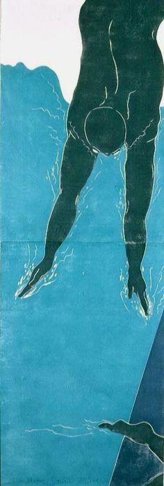 Diver - woodblock print 1996/1997 - Ralph Kiggell, Asia / born 1960 U.K.